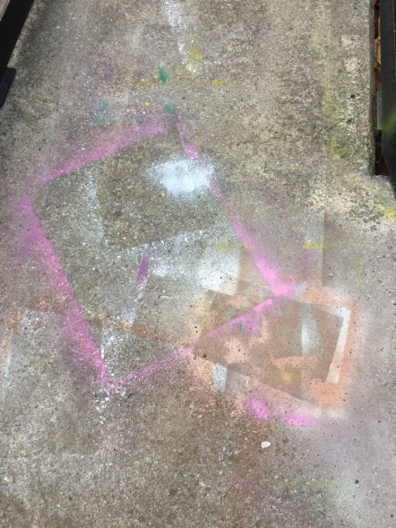 Spray paint on the pavement