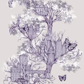 Louise Tiler - Urban Tree Wallpaper for Graham Brown