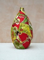 red and green seedpod vase_web